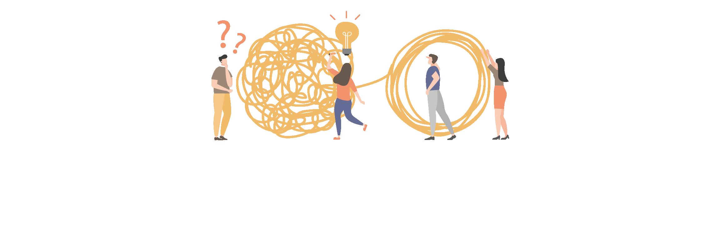 Ilustración de personas aclarando dudas - erein psicología